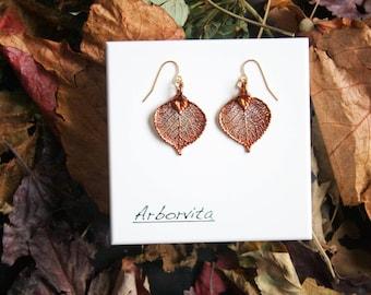 Real Aspen Leaf Iridescent Copper earrings