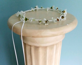 White daisy Woodland Bridal Crown  headpiece simple minimal Hair Wreath circlet wedding party accessories headband music festivals