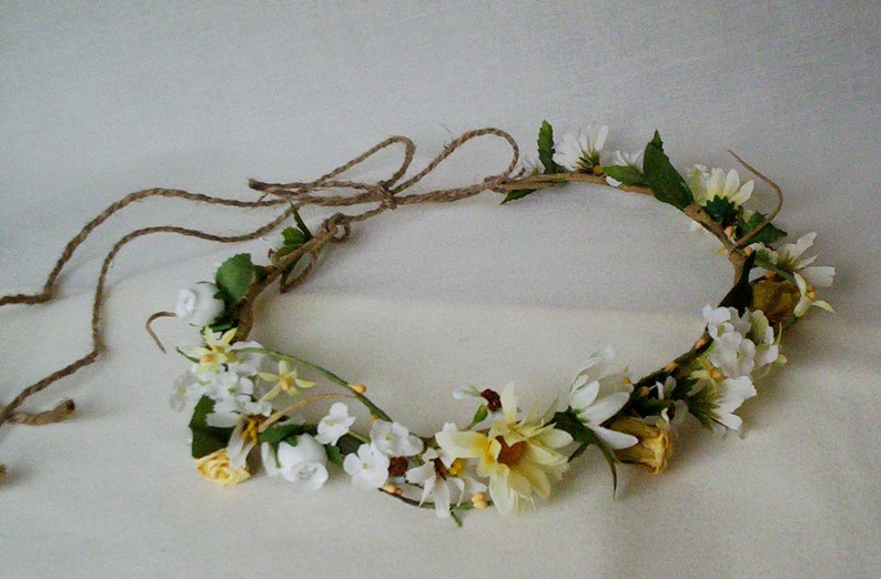 Wedding Flowers Daisy Bouquet flower crown set of 2 Twine wrap Bridal elopement floral hair wreath accessories summer halo headpiece