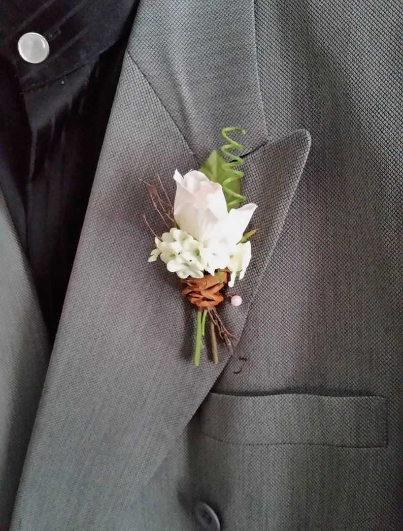 silk wedding flowers Boutonniere Set of 2 bridal party groom Town Hall wedding rustic chic ivory brown Homecoming Prom