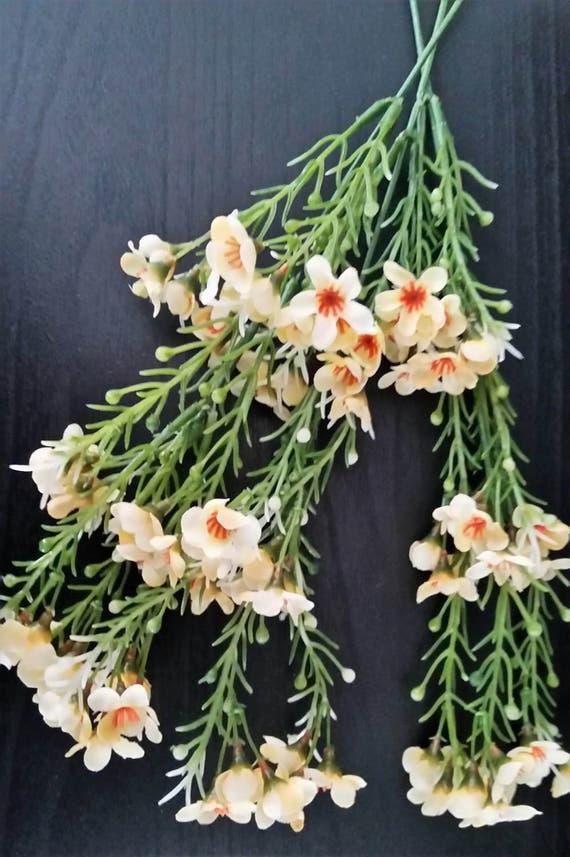 Silk flower supply light yellow wax flower bridal accessories etsy image 0 mightylinksfo