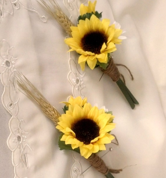Items Similar To Sunflower Wedding Flowers Boutonniere