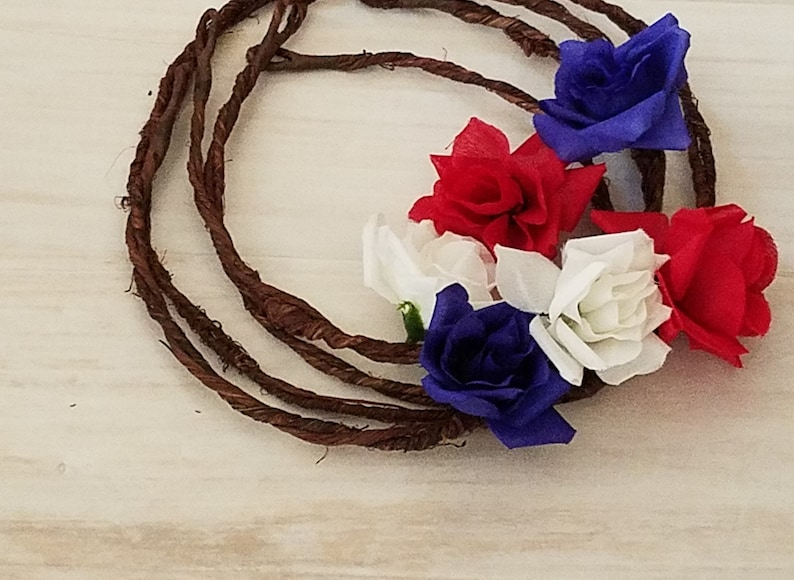 Americana craft red white blue Silk flowers 6 mall roses parade ideas flower crown halo supplies floral supply DIY Bridal party  accessories