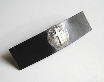 Christian Cross Barrette Black Barrette Hair Clip Leather Barrette