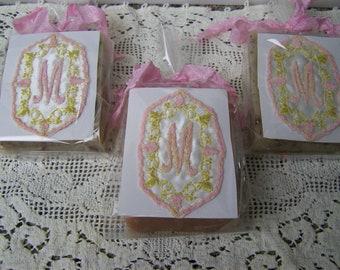 Handmade Soaps gift set, organic, handmade, birthday gift, bridesmaids gift. Set of 3 soaps. Monogrammed letter M.