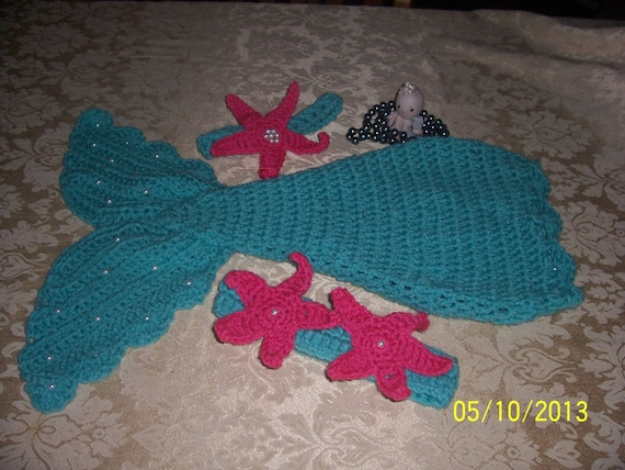 Crochet Baby Mermaid Pattern~Includes Starfish and Shell Top and Tail~ Costume~set PhotoProp from BeckysBlueMoonCrafts on Etsy Studio & Crochet Baby Mermaid Pattern~Includes Starfish and Shell Top and ...