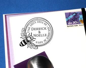 Honey Bee Address Stamp, Custom Round Bumble Bee Return Address Stamp, Bee Hive, Bee Keeper, Apiary, Honey Brand Stamp, Christmas Gift 11