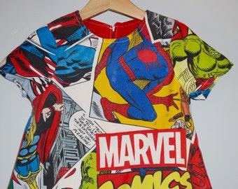Upcycled Marvel Comic Fabric Dress Age 3-4
