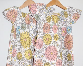 Daisy Print Short Sleeve Dress