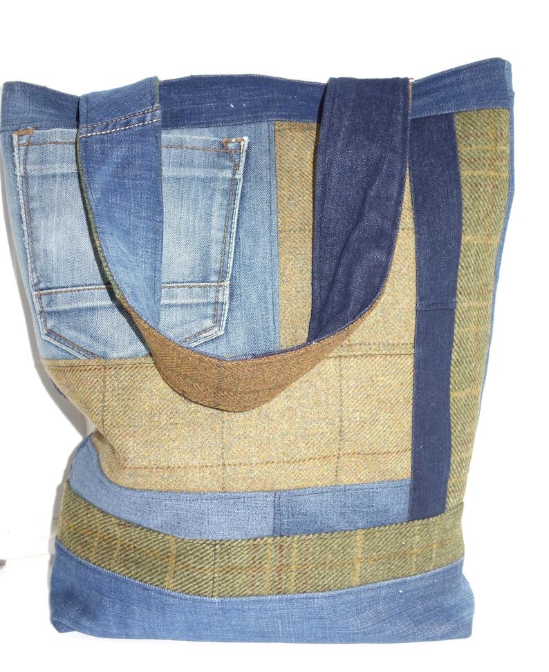 Denim and Tweed Tote Bag