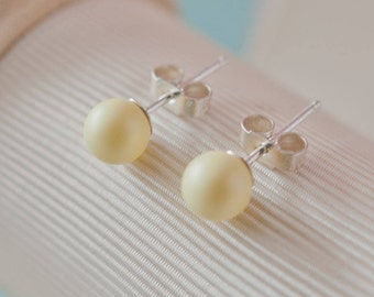 Yellow Wedding Accessories Yellow Sterling Silver Earrings Yellow Wedding Yellow Stud Earrings Yellow Pearl Earrings Bridesmaid Gift