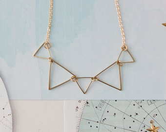 Triangle Necklace, Geometric Necklace, Bunting Jewellery , Bunting Necklace, Triangle Jewellery, Geometric Jewellery, Triangle Pendant