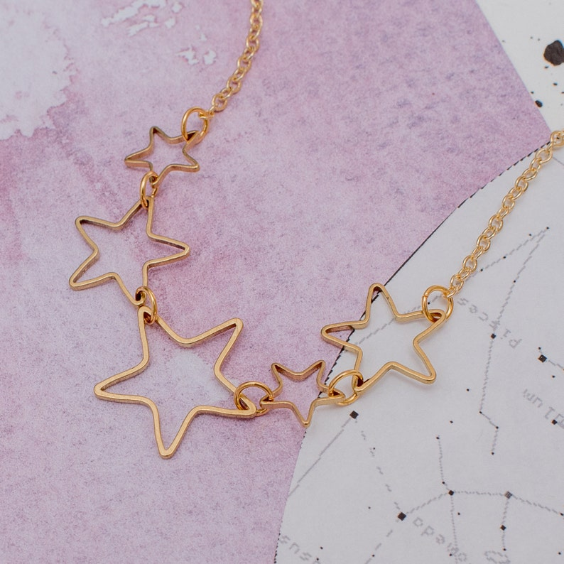 Star Stocking Filler Gold Star Charm Necklace Star Themed Necklace Gift Space Necklace Star Jewellery Linked Star Necklace