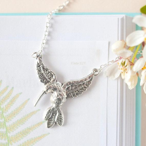 42a55720a Silver Hummingbird Necklace Hummingbird Pendant Hummingbird | Etsy