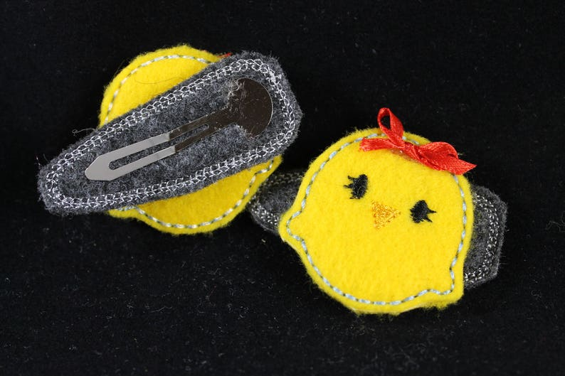 Embroidered Baby Chick Clippies Hair Clips for Girls Felties