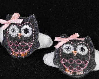 Hair Clips for Girls - Owls, embroidered hair clippies