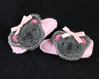 Hair Clips for Girls - Embroidered Koala Clippies, Felties