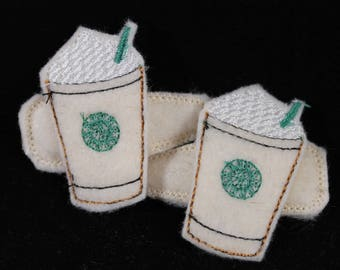 Hair Clips for Girls - Embroidered Frapiccino Clippies, felties