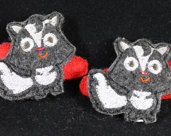 Hair Clips for Girls - Skunk, embroidered felt hair clippies