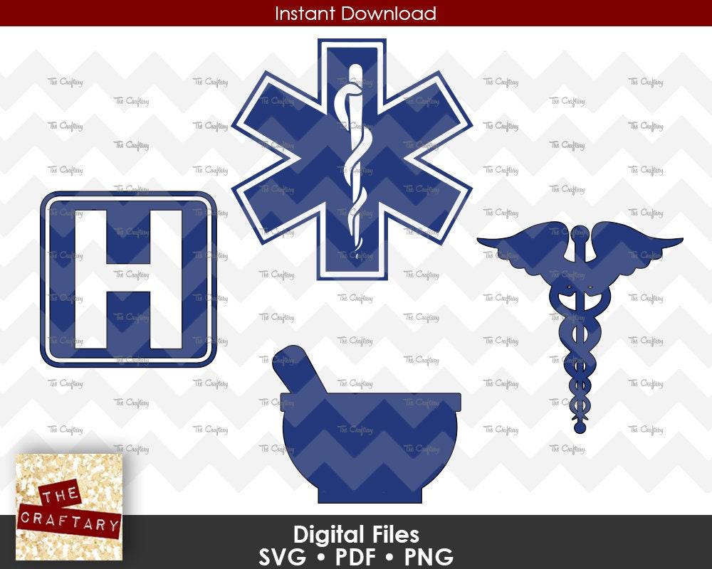 Medical | Hospital | EMT | Emergency | Ambulance | Mortar Pestle | Pharmacy  | Pharmacist | Caduceus | Rod Staff of Asclepius | SVG