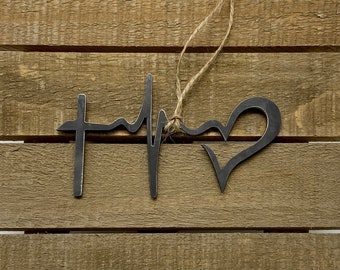 Jesus ekg Metal Ornament with Heart Raw Steel Decoration Love Camping Camp Explore