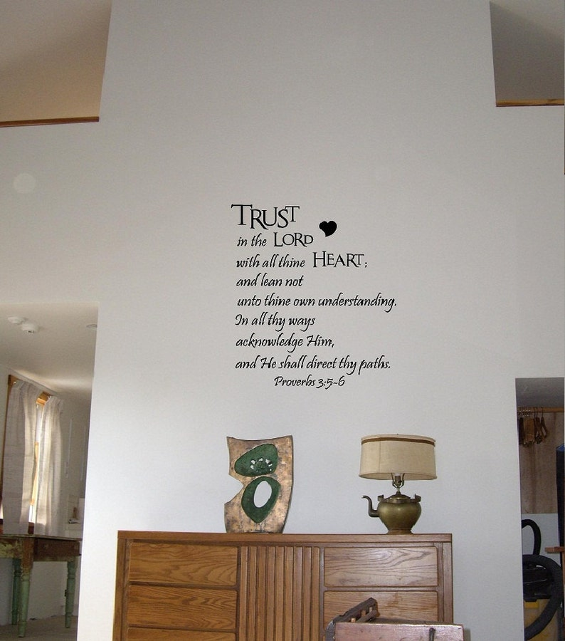 Trust in the Lord with all thine heart    Proverbs 3:5-6 religious vinyl  wall decals quotes art sayings letters