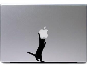Macbook - Cat grabbing apple logo - funny car truck sticker cute puppy dog bumper sticker decal
