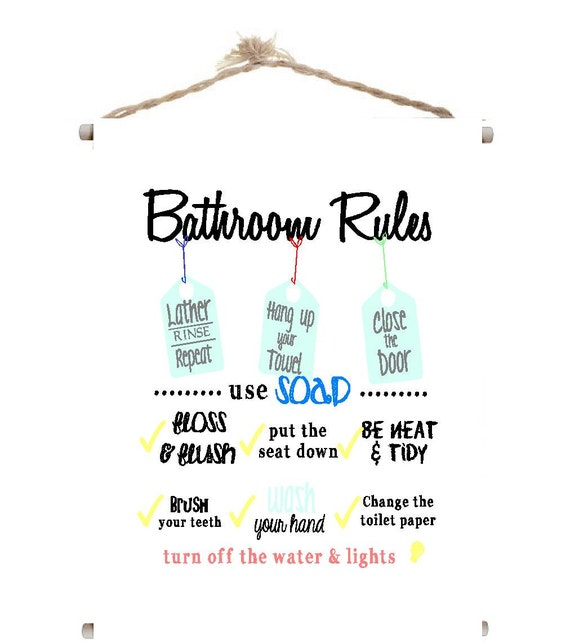 Canvas Banner Bathroom Rules kids cute wood dowel rods twine quotes sayings  decor wall art signs plaque