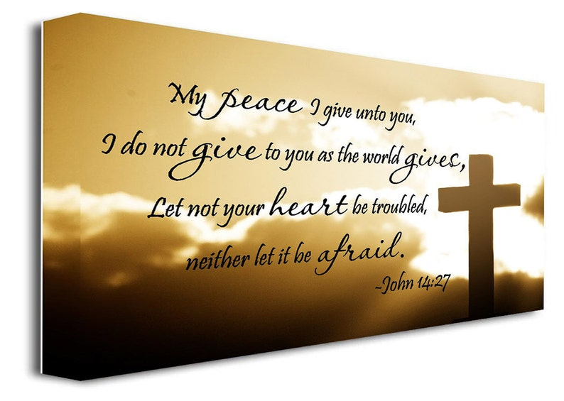 Framed canvas print My peace I give unto you John 14:27 religious quotes  sayings decor wall art signs plaque
