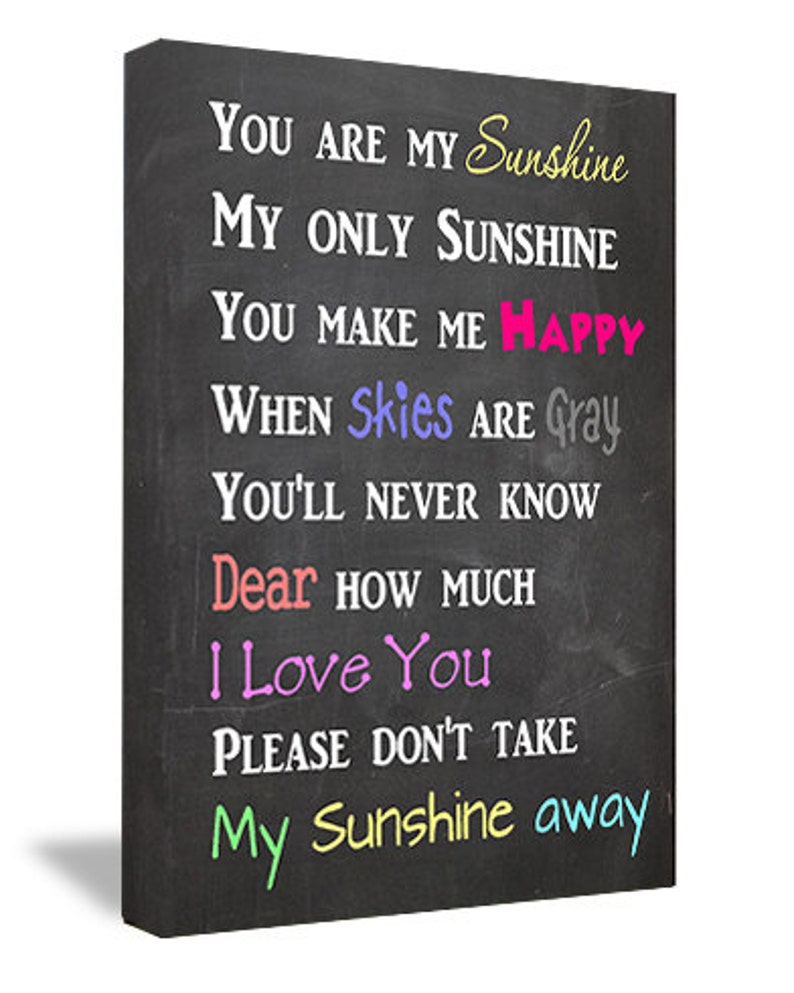 Framed Canvas Print Chalkboard Look You Are My Sunshine My Etsy