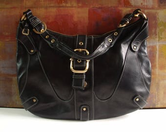 Large PERLINA Handbag Mod Black Leather Shoulder Hobo Purse 1bc6d4aa53bee