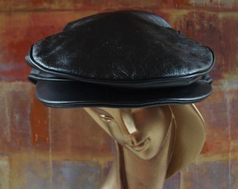 00e99c333df6 Italy Dolce   Gabbana Black Leather Newsboy Cap Hat Medium
