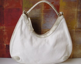 COLE HAAN Handbag White Leather and Canvas Hobo Tote Purse