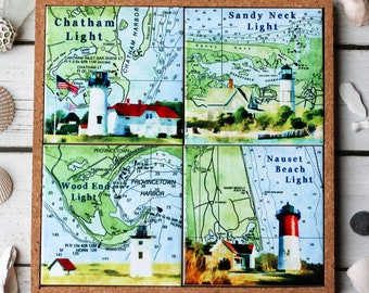 Maine Lighthouse Map Coasters Nautical Home Decor Beach Etsy