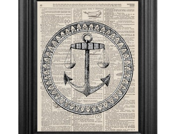 Dictionary Art Print - Anchor - 8x10