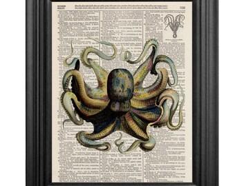 Dictionary Art Print - Octopus-8x10