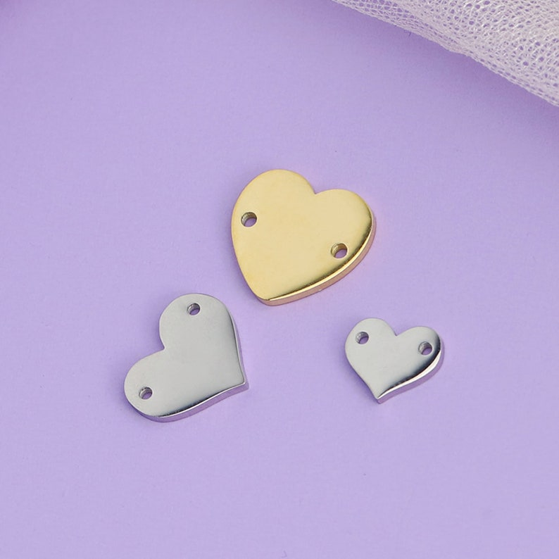 personalize two holes heart pendant-necklace bracelet heart connector steel two holes heart charms 50 pcs Customized mini Heart Connector