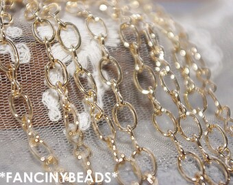 New design ON Sale-Fabulous 16 feet  oval loop chain-light gold plating over RAW copper-F672