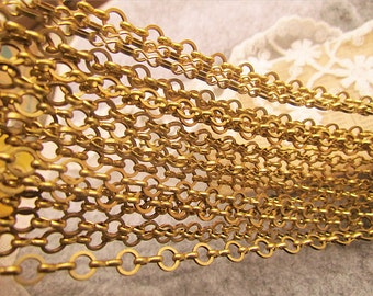 Solid chain-33 feet  fantastic RAW BRASS chain-cable chain-F81-open links