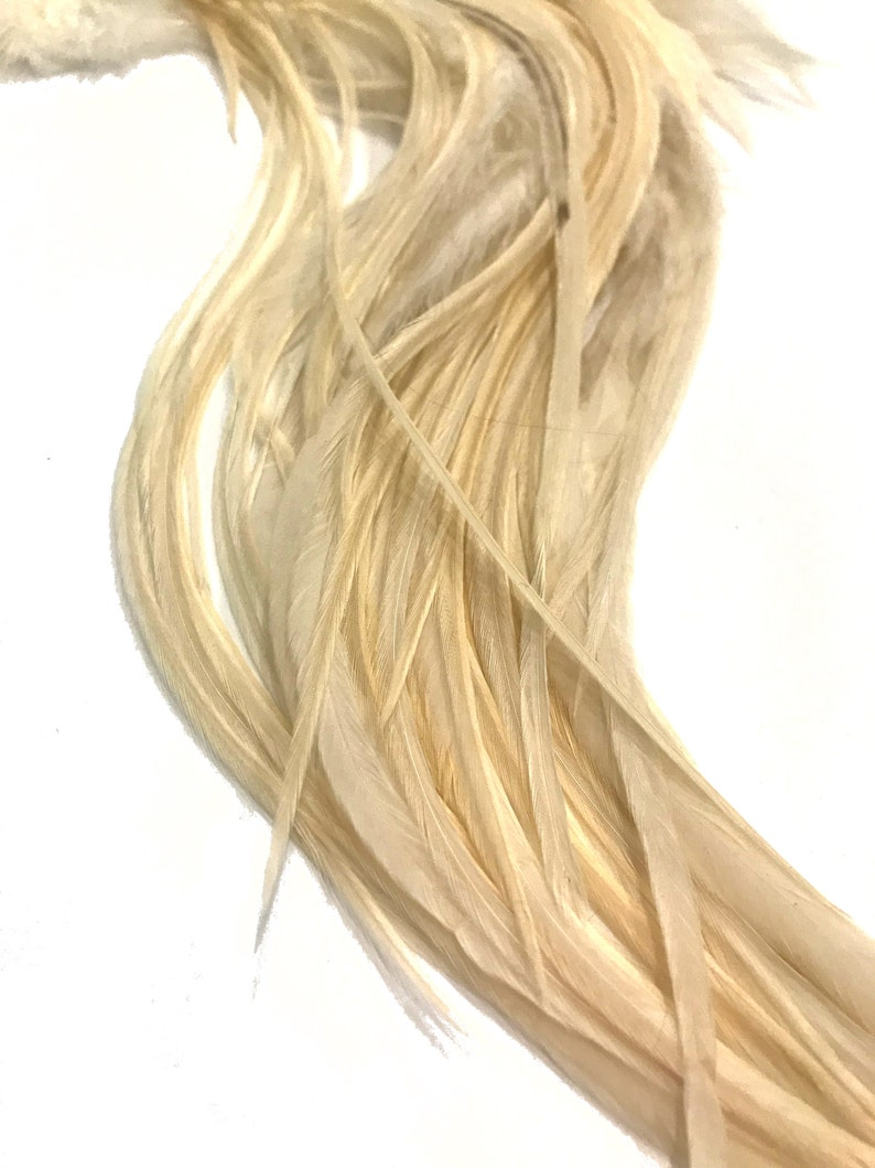 SOLID IVORY Thick Long Rooster Hair Extension Feathers 6 Pieces