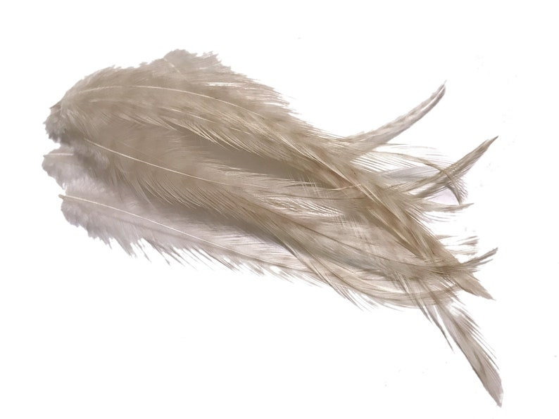 1 Dozen MEDIUM BROWN Grizzly Rooster Hair Extension Feathers