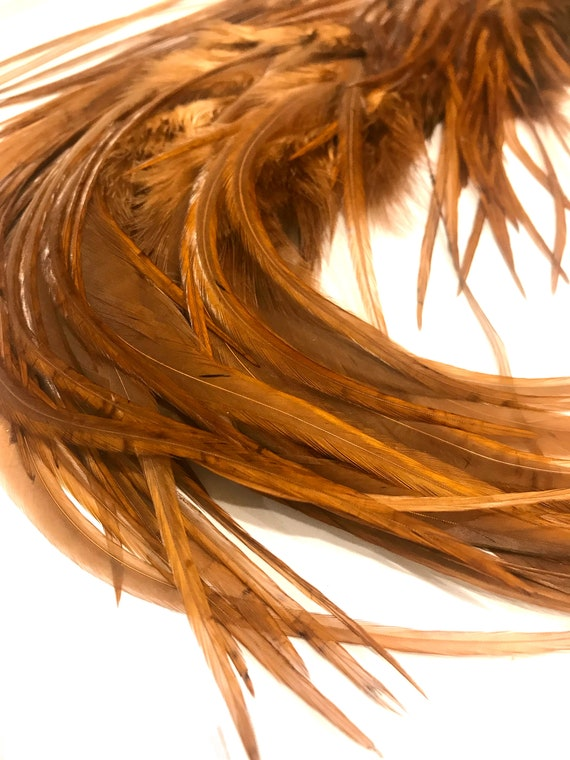 1 Dozen Short Solid Antique Gold Rooster Hair Extension Whiting Saddle Feathers