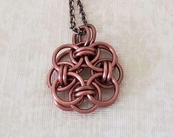 Antique Copper Enameled Copper Celtic Helm Chainmaille Pendant