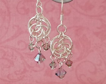 Silver-Plated Copper Celtic Circles Chainmaille Chandelier Earrings with Swarovski Crystals