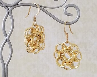 Satin Gold Enameled Copper Celtic Helm Chainmaille Earrings