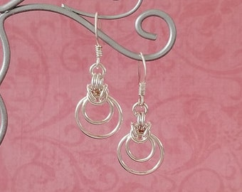 Silver-Plated Copper Byzantine Ripple Chainmaille Earrings