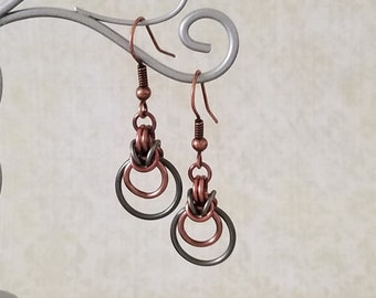 Antique Copper and Gunmetal Enameled Copper Byzantine Ripple Chainmaille Earrings