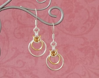 Silver-Plated Copper & Satin Gold Enameled Copper Byzantine Ripple Chainmaille Earrings