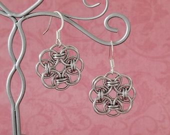 Stainless Steel Celtic Helm Chainmaille Earrings