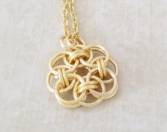 Satin Gold Enameled Copper Celtic Helm Chainmaille Pendant